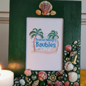 Maritime Memories Embellished 8 x 10 Vertical Picture Frame in Forest Green