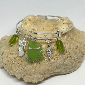 Wire Bangle Bracelet with Lime Green or Sapphire Blue Caribbean Sea Glass and Nautical Charms