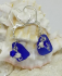 Rare Cobalt Blue Sea Glass, Sterling Silver and Swarovski Crystal Leverback Earrings