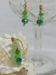 Seafoam Sea Glass and Swarovski Crystal Gold Starfish Pendant and Lever Back Earrings