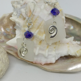 Swarovski, Sea Shells and Sea Glass .925 Sterling Silver Lever Back Earrings