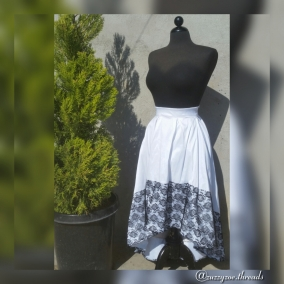 Pleated High Low Lace Hem Skirt