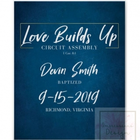 Baptism Print Love Builds Up -Blue