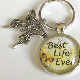 Best Life Ever keychain with butterfly