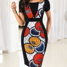 Ankara knee-length gown