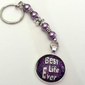 Purple glitter background keychain