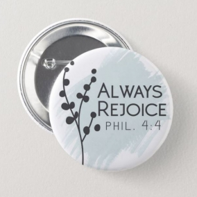 Always Rejoice Convention Button Pins Blue – 10 Pack