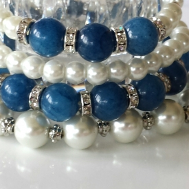 Blue Agate Stone and Pearl Stretch Bracelets