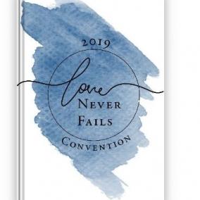 Love Never Fails Notebook – Blue