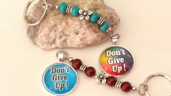 """Don't Give Up"" keychain/bag accessory"
