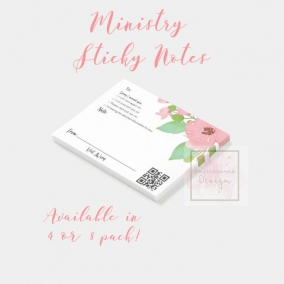 Ministry Sticky Notes Floral – 4 Pack