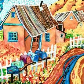 (Digital Download) No Sew – Fabric Art Tutorial – Five Mailboxes