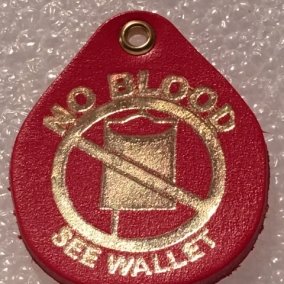 Key Chain Tag: NO BLOOD Red with Gold Print