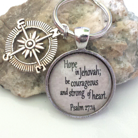Hope in Jehovah keychain with compass charm