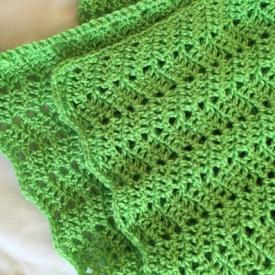 Green chevron baby stroller blanket
