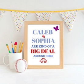 "Caleb & Sophia Art Print. Caleb JW Kids Room Print. 8 x 10 "" Art Print. JW decor."