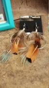 Handmade Hoop and Feather Earrings