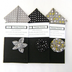 Folded Polka Dot Pocket Square and Flower Lapel Pin Set