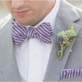 Purple and rainbow stripe bow tie and pocket square set