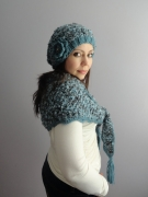 Hand Knitted Baktus Scarf and Slouchy Beanie Hat Set – Made to order