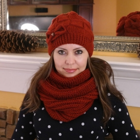 Copper/Red-Brown Knitted Set of Slouchy Hat and Snood
