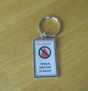 No Blood Keychain keyring