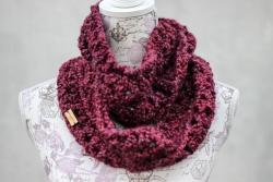 Crocheted chunky infinity scarf