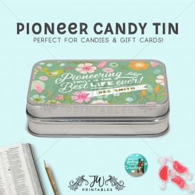 Pioneer Candy Tins | JW Candy Gifts – Pioneer Gifts – Elder Gifts – JW Gift Bags – Baptism Gift Bags – Pioneer Sweets