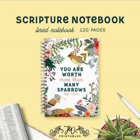 Have No Fear You Are Worth More Than Sparrows Notebook | Best Life Ever – Scripture Notebook – Baptism Gifts – JW Gifts – JW Workbook