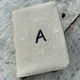 Monogrammed linen NWT Bible cover, regular sized