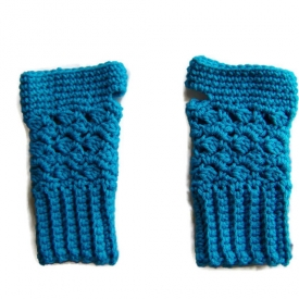 Bright Blue Crochet Fingerless Gloves