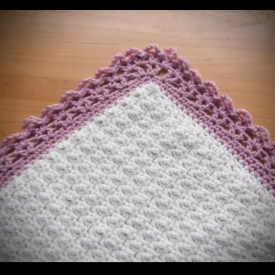 Ivory and Rose Crochet Baby Blanket