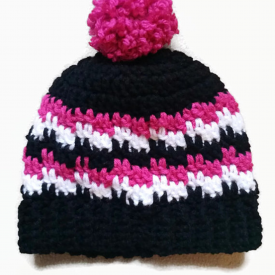 Men/ Large Adult Crochet Pom Pom Beanie