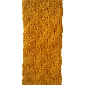 Mustard Yellow Crochet Infinity Scarf
