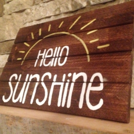 """Handcrafted """"Hello Sunshine"""" Wooden Sign"""