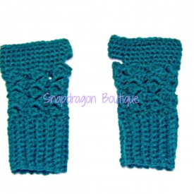 Teal Crochet Fingerless Gloves
