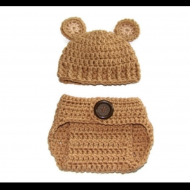 Tan Newborn Teddy Bear Crochet Photo Prop