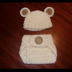Ivory Teddy Bear Newborn Crochet Photo Prop