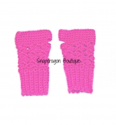 Hot Pink Crochet Fingerless Gloves