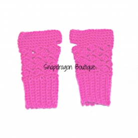 Hot Pink Crochet Fingerless Gloves