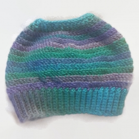 Peacock Crochet Messy Bun Beanie