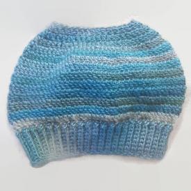 Blue Ombré Crochet Messy Bun Beanie