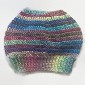 Rainbow Crochet Messy Bun Beanie
