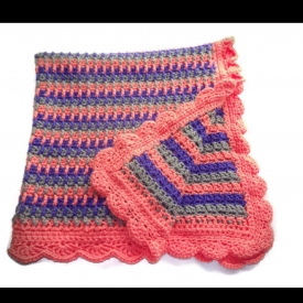 Purple, Coral, and Gray Waterfall Crochet Baby Blanket
