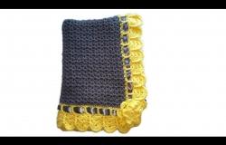 Gray and Yellow Crochet Baby Blanket
