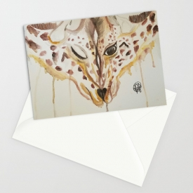 'Insperable' Greeting Card 5″x7″Watercolor Artwork Print of 2 Giraffes by Kikajo Ink