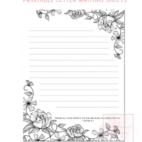 Printable Letter Writing Sheets 1 Pet 5:7
