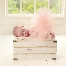 Newborn Peach Baby Tutu and Flower Headband, Ready To Ship