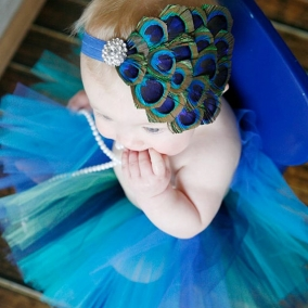 Peacock Headband, All Sizes Available, You Choose Elastic Color, Clear Rhinestone, Ready To Ship