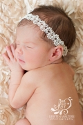 Ivory pearl and lace newborn headband ready to ship